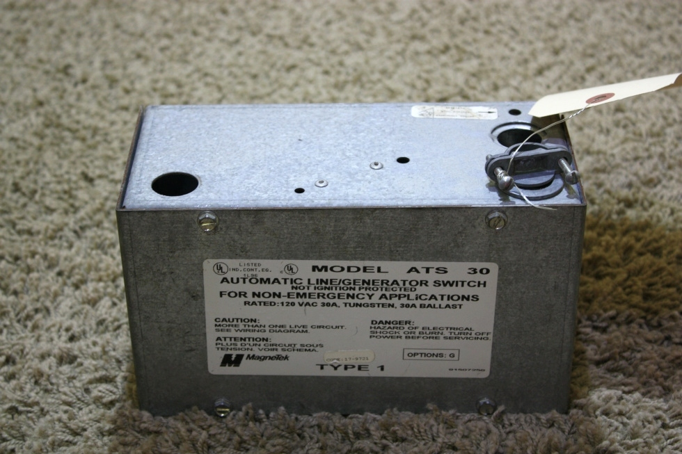 USED RV MAGNETEK AUTOMATIC LINE / GENERATOR SWITCH MODEL ATS 30 FOR SALE