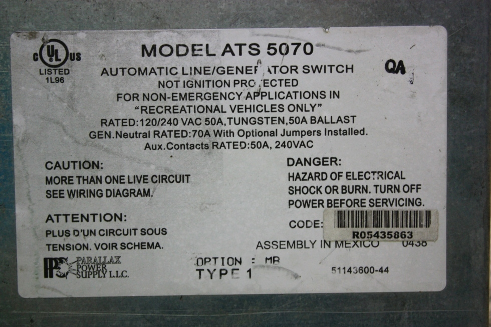 USED MOTORHOME PARALLAX POWER SUPPLY ATS 5070 AUTOMATIC LINE/GENERATOR SWITCH FOR SALE