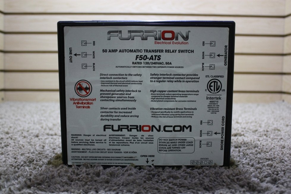 USED RV FURRION 50 AMP AUTOMATIC TRANSFER RELAY SWITCH F50-ATS FOR SALE