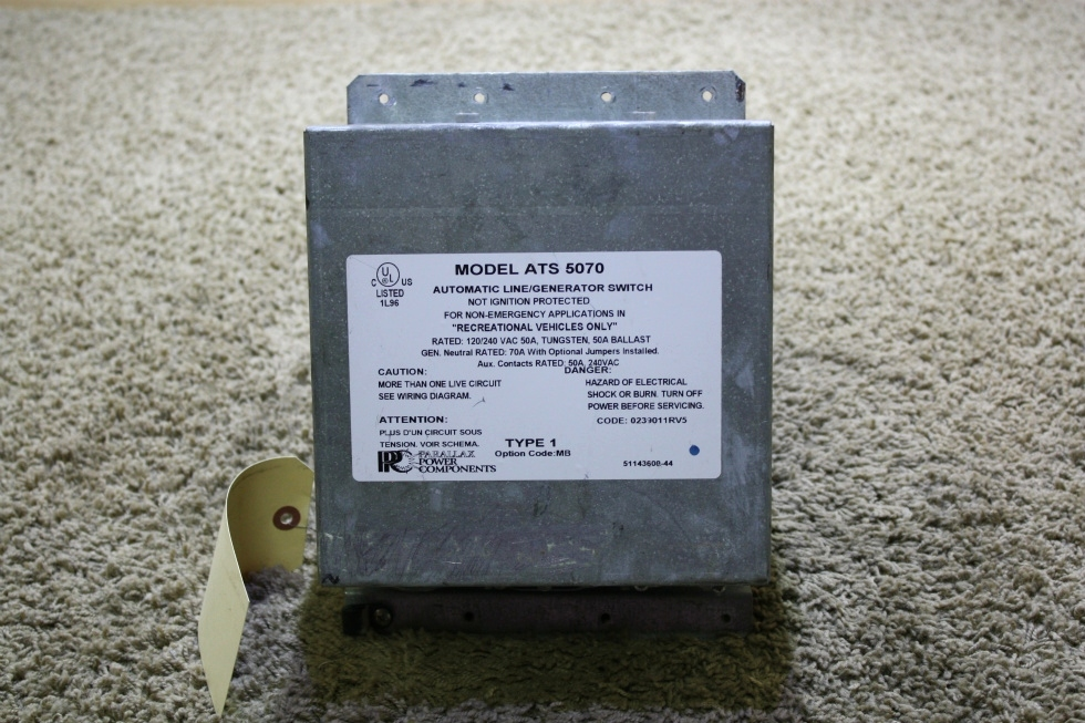 USED ATS 5070 PARALLAX POWER COMPONENTS AUTOMATIC LINE/GENERATOR SWITCH RV PARTS FOR SALE