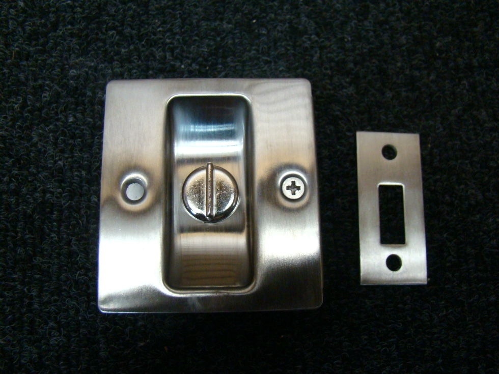 NEW RV/MOTORHOME STAINLESS PRIVACY POCKET DOOR LOCK 2 3/4 X 2 1/2 X 1 3/8