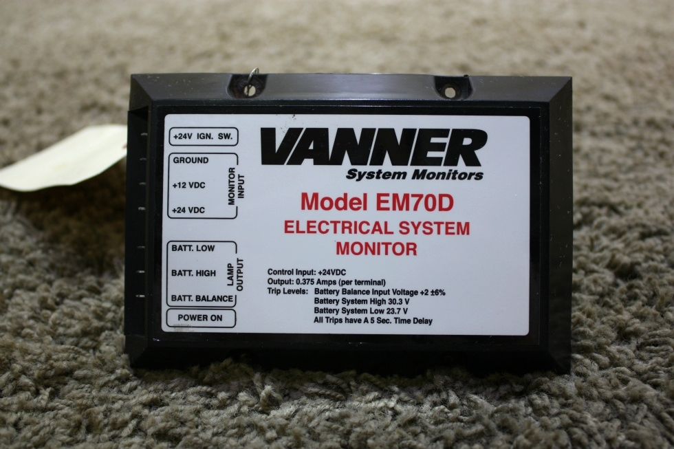 USED RV VANNER ELECTRICAL SYSTEM MONITOR EM70D FOR SALE