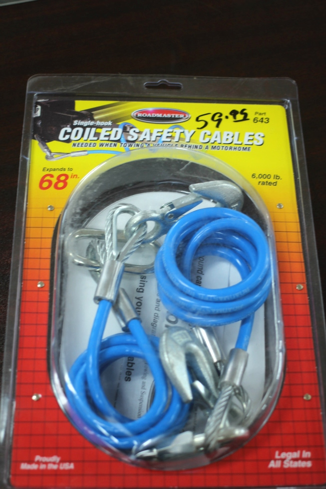 NEW RV/MOTORHOME ROADMASTER SINGLE-HOOK COILED SAFETY CABLES P/N: 643
